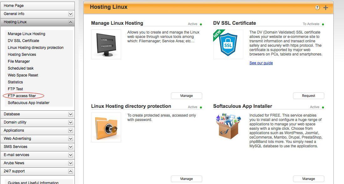 installare wordpress - filtro accessi FTP aruba