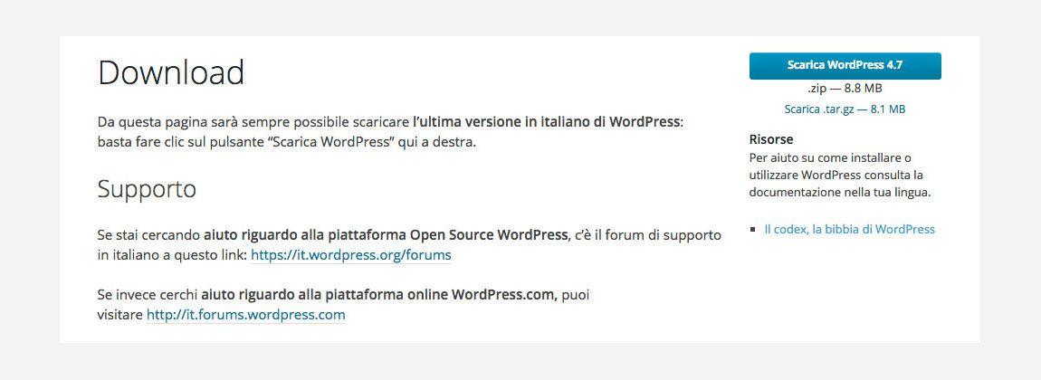 installare wordpress download