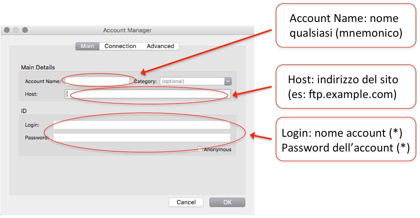 installare wordpress creazione account ftp