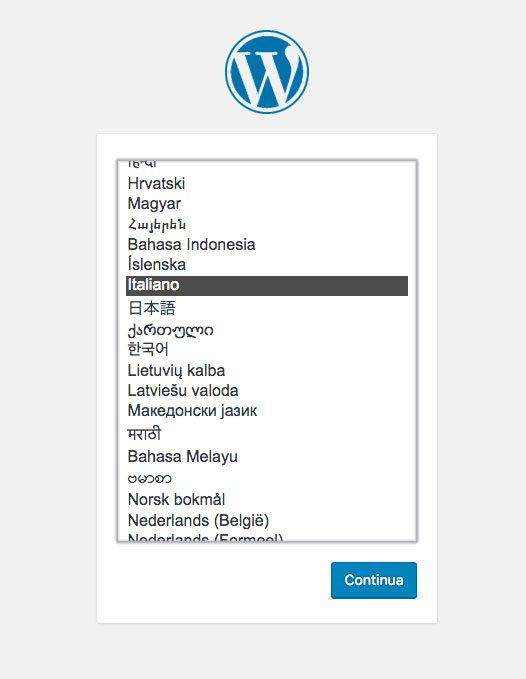 installazione wordpress selezione lingua